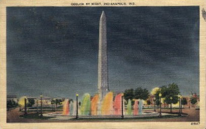 Obelisk by Night - Indianapolis Postcards, Indiana IN Postcard