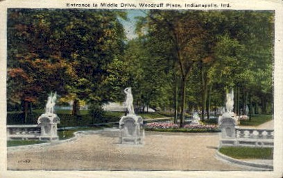 Entrance to Middle Drive, Woodruff Place - Indianapolis Postcards, Indiana IN Postcard