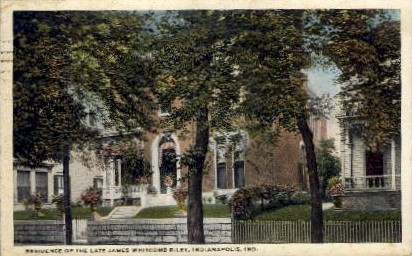 Residence of James Whitcomb Riley - Indianapolis Postcards, Indiana IN Postcard
