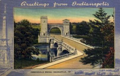 Emrichsville Bridge - Indianapolis Postcards, Indiana IN Postcard