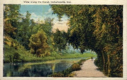 View Along the Canal - Indianapolis Postcards, Indiana IN Postcard