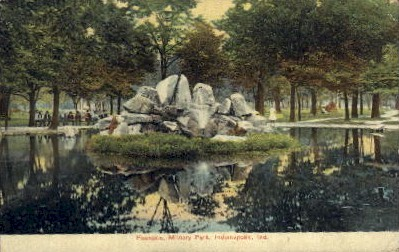 Fountain, Military Park - Indianapolis Postcards, Indiana IN Postcard
