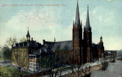 Sacred Heart Church and School - Indianapolis Postcards, Indiana IN Postcard