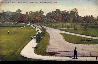 Riverside Park, East from Bear Pit - Indianapolis Postcards, Indiana IN Postcard