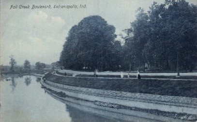 Fall Creek Boulevard - Indianapolis Postcards, Indiana IN Postcard