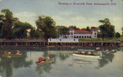 Boating at Riverside Park - Indianapolis Postcards, Indiana IN Postcard