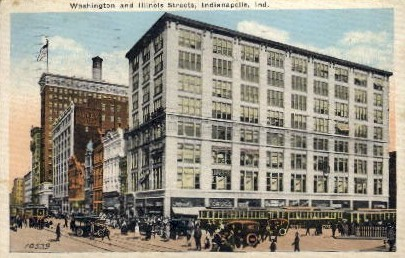 Washington and Illinois Streets - Indianapolis Postcards, Indiana IN Postcard
