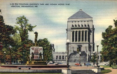 De Pew Fountain in  - Indianapolis Postcards, Indiana IN Postcard