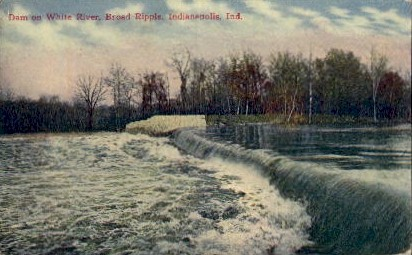 Dam on White River - Indianapolis Postcards, Indiana IN Postcard