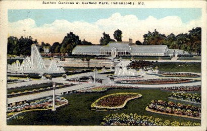 Sunken Gardens at Garfield Park - Indianapolis Postcards, Indiana IN Postcard