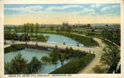 Senate AVE. Bridge, Fall Creek BLVD. - Indianapolis Postcards, Indiana IN Postcard
