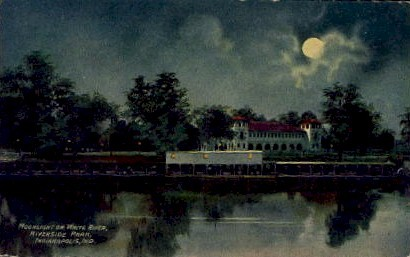 Moonlight on White River, Riverside Park - Indianapolis Postcards, Indiana IN Postcard