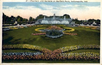 Fountain and Gardens at Garfield Park - Indianapolis Postcards, Indiana IN Postcard
