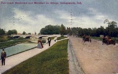 Fall Creek Boulevard, Meridan St. Bridge - Indianapolis Postcards, Indiana IN Postcard