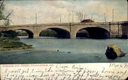 College Ave. Bridge - Indianapolis Postcards, Indiana IN Postcard