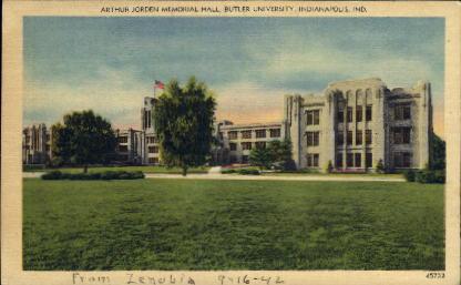Arthur Jorden Memorial Hall, Butler University - Indianapolis Postcards, Indiana IN Postcard