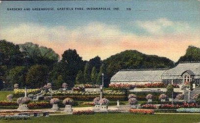Gardens and Greenhouse, Garfield Park - Indianapolis Postcards, Indiana IN Postcard