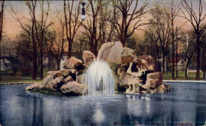 Military Park Fountain - Indianapolis Postcards, Indiana IN Postcard