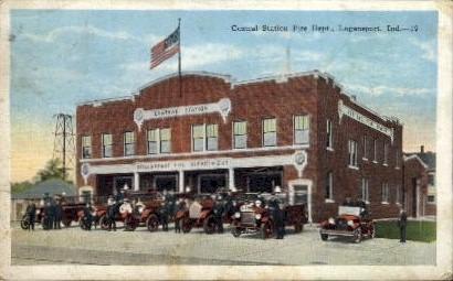 Central Station Fire Dept. - Logansport, Indiana IN Postcard