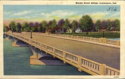 Market Street Bridge - Logansport, Indiana IN Postcard