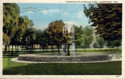 Fountain in Riverside Park - Logansport, Indiana IN Postcard
