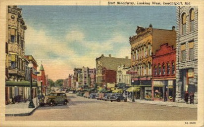 East Broadway, looking West - Logansport, Indiana IN Postcard