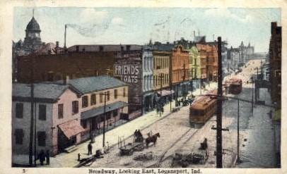 Broadway looking East - Logansport, Indiana IN Postcard