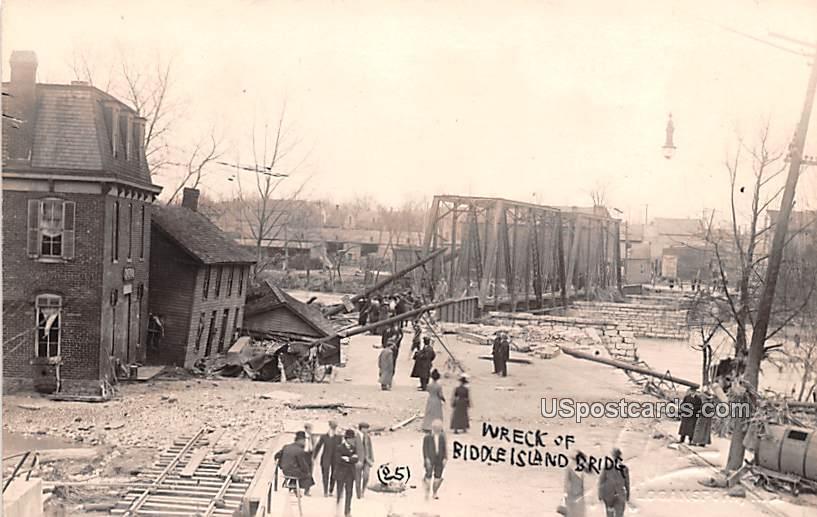 Wreck of Biddle Island Bridge - Logansport, Indiana IN Postcard