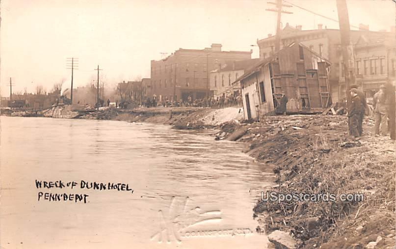 Wreck of Dunn Hotel - Logansport, Indiana IN Postcard