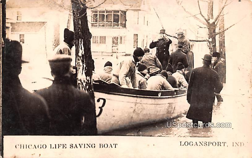 Chicago Life Saving Boat - Logansport, Indiana IN Postcard