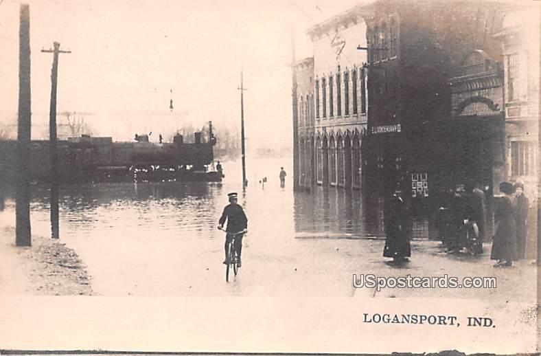 Flood - Logansport, Indiana IN Postcard