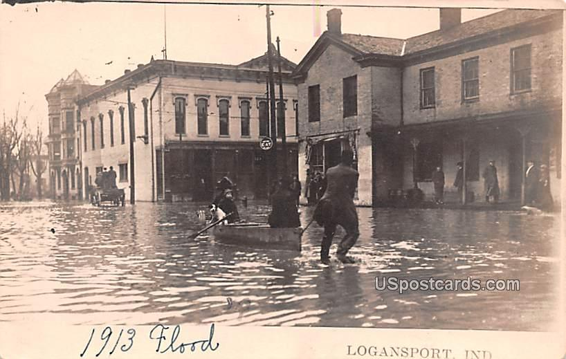 1913 Flood - Logansport, Indiana IN Postcard