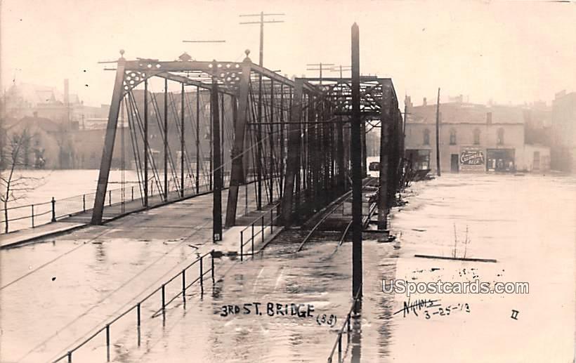 3rd Bridge Flood Damage - Logansport, Indiana IN Postcard