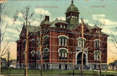 High School Building - Marion, Indiana IN Postcard