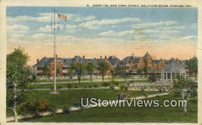 Hospital & Band Stand, Soldiers Home - Marion, Indiana IN Postcard