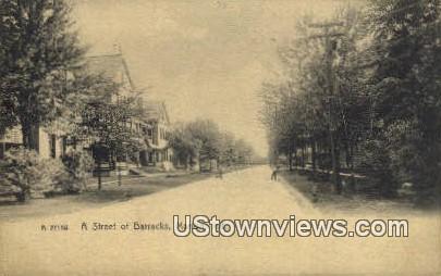 Street of Barracks - Marion, Indiana IN Postcard