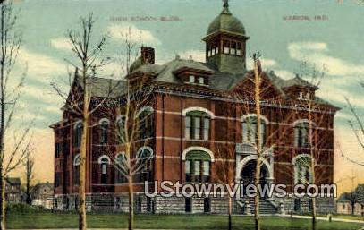 High School Bldg, Marion - Indiana IN Postcard