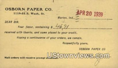 Osborn Paper Co - Marion, Indiana IN Postcard