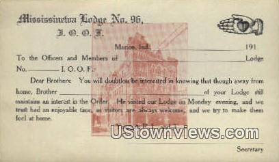 Mississinewa Lodge No 96 - Marion, Indiana IN Postcard