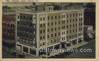 Spencer Hotel - Marion, Indiana IN Postcard