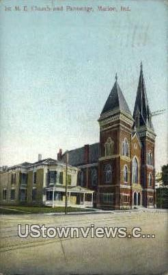 1st ME Church & Parsonage - Marion, Indiana IN Postcard