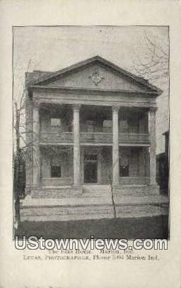 The Elks Home - Marion, Indiana IN Postcard