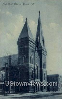 First ME Church - Marion, Indiana IN Postcard