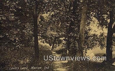Lovers Lane - Marion, Indiana IN Postcard