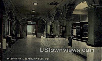 Interior of Library, Marion - Indiana IN Postcard