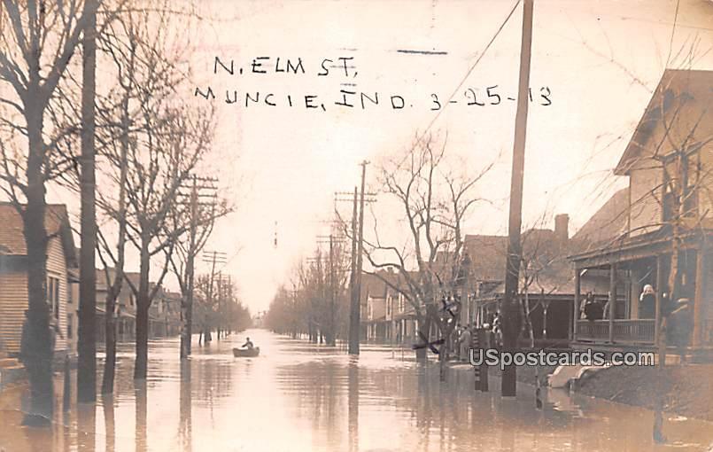 North Elm Street - Muncie, Indiana IN Postcard