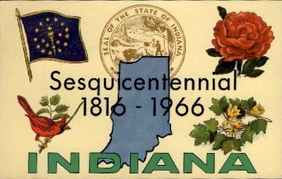 Sesquicentennial 1816-1966 - Misc, Indiana IN Postcard