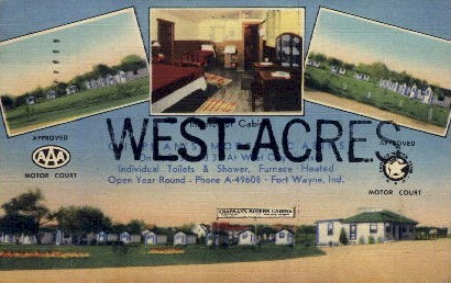 West - Acres Motor Courts - Misc, Indiana IN Postcard
