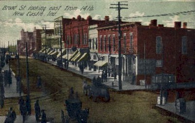 Broad St. looking east from 14th  - New Castle, Indiana IN Postcard