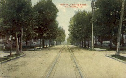 14th St., looking South - New Castle, Indiana IN Postcard